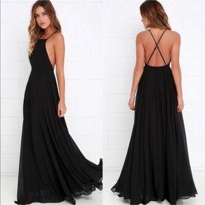 Lulu's Formal Low Back Maxi Dress Gown Black XL